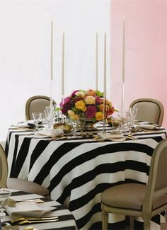 Stripes + Pink + Floral + Candles #Tablescape #Party