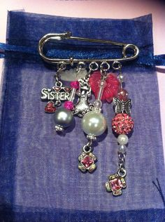 Made for Erica by Donna 10.05.15  Kilt pin brooch .Pink, girly n sparkly