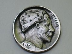 Joe Gallagher - Voodoo Lady Hobo Nickel, Antique Coins, Voodoo, Jewelry Collection, Hand Carved, Carving, Antiques, Lady, Antiquities