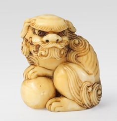 katabori Netsuke, Lion-Dog (Shishi), late 18th c., ivory, Tikotin collection
