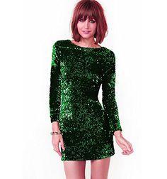 Outono Inverno Vestido de Paetês Mulheres Especial Ocasião Vestidos de Festa Vestido Bodycon Manga Longa Mini Vestido Verde Vestidos