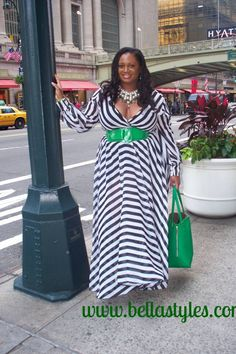 Blogger Bella Styles Company wearing our New Plus Size Black and White Chiffon Gown available at www.chicandcurvy.com