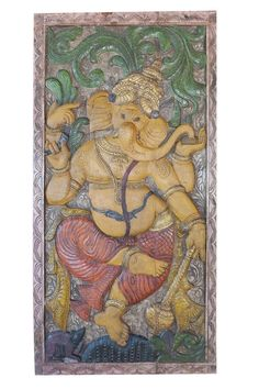 Vintage Indian door Antique Hand Carved Ganesha Sculpture Root