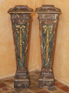 Pr. of Louis XVI Style Painted Italian Columns image 2