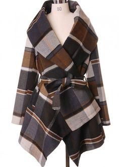 Brown plaid warm blanket coat