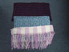 72.46$  Watch here - http://vijoy.justgood.pw/vig/item.php?t=62ev5vv58655 - BOUTIQUE Lot Of 3 Purple White Blue Cotton Blend Casual Knit Scarves CC4617 72.46$
