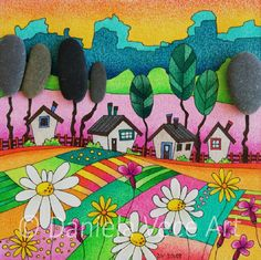 Landscape with mountains, trees, fields, flowers, stones and little houses. Picture Frames, Drawings, Painting, Art, Colours
