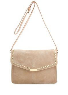 Leather Bag with details of stacks by Mango
