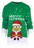 NEW WOMENS LADIES NOVELTY KNITTED MINION CHRISTMAS PARTY PLUS SIZE JUMPER. (1)