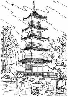 Раскраска Японская архитектура