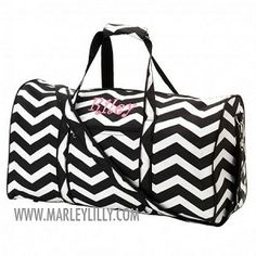 Monogrammed Large Black Chevron Duffel Bag