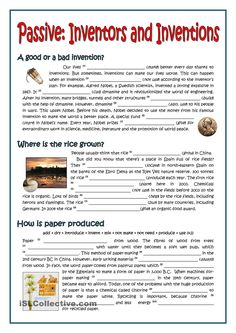 The worksheet contains seven different passages about important inventions in the history. Students must use the present simple passive and the past simple passive. Teaching English Grammar, English Grammar Worksheets, English Language Learning, English Writing, English Vocabulary, French Language, English Lesson Plans, English Lessons, Learn English