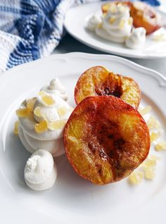 Cinnamon Roasted Peaches with Honey Marscarpone Whipped Cream: A simple and easy dessert that's vegetarian and gluten-free!www.yayforfood.com