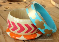 15 Minute Crafts: Stenciled Wood Bangle Bracelets - Happiness is Homemade