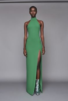 Solace London Zadid Dress Green from Fall Winter Floor length sleeveless halterneck gown with low open back, funnel neck and a high front split. Party Mode, Mode Editorials, Mode Inspiration, Party Fashion, Elegant Dresses, Green Dress, African Fashion, Dress To Impress, Editorial Fashion