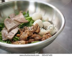noodle and set of menu, tasty noodle with animal favor, restaurant of delicious meal. - stock photo