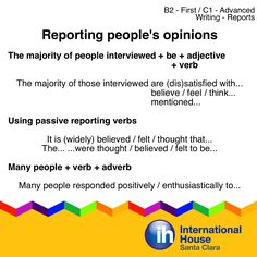 Useful patterns for reporting people's opinions in reports. Some Report Writing…