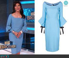 Julie's blue sheath dress with flared sleeves on Big Brother Crepe Dress, Lace Dress, Big Brother Style, Julie Chen, Lucy Liu, Scalloped Dress, Bow Blouse, Asymmetrical Tops, Cutout Dress
