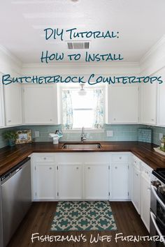 Fisherman's Wife Furniture - Brian and Kaylor DIY Tutorial - How to Install Butc. - Fisherman's Wife Furniture - Brian and Kaylor DIY Tutorial - How to Install Butcher Block Countertops Diy Butcher Block Countertops, Butcher Blocks, Countertop Redo, Painting Countertops, Buther Block Counter Tops, Wood Counter Tops Diy, Kitchen With Wood Countertops, Blue Kitchen Countertops, Butcher Block Kitchen