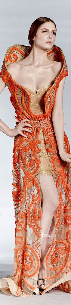 DAR SARA F/W 2013-14 COUTURE  Like the overall structure....it has impact, but bodice area is too exposed. Would lightly apply sheer silkiness there....