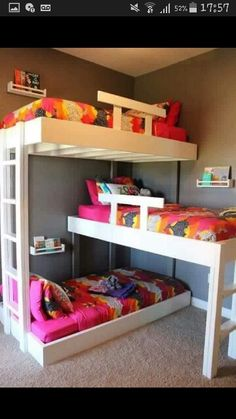 Triple Bunk Bed Plans Will Answer Your Curiosity – Bunk Beds Ideas Triple Bunk Beds Plans, Bunk Bed Plans, Kids Bunk Beds, Bunkbeds For Small Room, Boys Bunk Bed Room Ideas, Cool Bunk Beds, Small Bedroom Layouts, Trio Bunk Beds, Small Childrens Bedroom Ideas