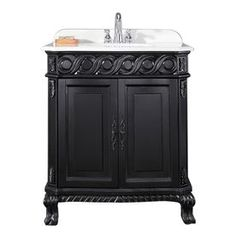 Ove Decors Trent Antique Black Undermount Single Sink Bathroom Vanity With Cultured Marble Top (Common: 30-In X 22-In; A