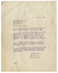 This letter, type written and signed by Einstein, was sent from Princeton, New Jersey, to New York City in 1939.
