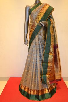 Traditional Classic Grey Zari Kanjeevaram Silk Saree Product Code: SSJG06347  Online Shopping: http://www.janardhanasilk.com/Saree-Collections/Kanjeevaram-Silk-Saree/Traditional-Classic-Grey-Kanjeevaram-Silk-Saree?limit=25