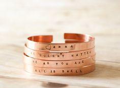 Customizable NAME copper bangle bracelet