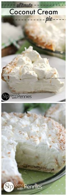 Ultimate Coconut Cream Pie is part of Coconut cream pie recipes I love coconut in all desserts from Coconut Cupcakes to Almond Coconut Macaroons! Old Fashioned Coconut Cream Pie is a classic dessert - Coconut Desserts, Coconut Recipes, Just Desserts, Delicious Desserts, Dessert Recipes, Yummy Food, Pie Coconut, Coconut Cream Pies, Breakfast Recipes