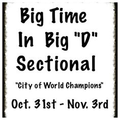"""Big Time in Big """"D"""" Sectional """"City of World Champions"""" STARTING TODAY, Oct 31st through Sunday, Nov 3rd! You don't want to miss this!! The tournament is being held at the Richardson Civic Center, 411 West Arapaho Rd., Richardson, TX 75080 Southwest corner of Arapaho & Central (75)."""
