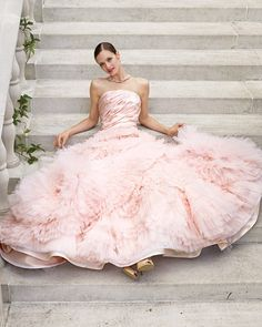 """Pink Tulle Gown    Pair a pink taffeta-and-tulle dress with shiny gold shoes, and you're sure to be sitting pretty. """"Leah"""" gown by Edgardo Bonilla. Shoes by Stuart Weitzman."""