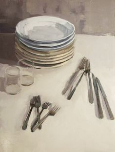 art contemporain   by artist carrie mae smith (peinture painting sujet table cuisine kitchen assiettes plates) palette blanc gris white grey