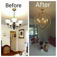 Instructions: Take down your old ugly chandelier and remove globes, wipe off really good. Spray paint color of your choice. R Hula Hoop Chandelier! Instructions: Take down your old ugly chandelier and remove globes, wipe off really Hula Hoop Chandelier, Old Chandelier, Farmhouse Chandelier, Farmhouse Lighting, Chandelier Ideas, Brass Chandelier Makeover, Painting Chandeliers, Spray Painted Chandelier, Best Spray Paint