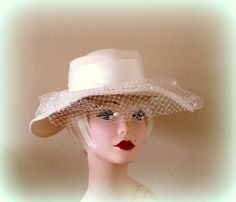 60s Bridal Brim Hat Cream Wool Dotted Swiss by Cherrycrushretro