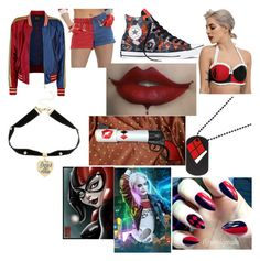 """""""Harley Quinn"""" by gtvon ❤ liked on Polyvore featuring Converse"""