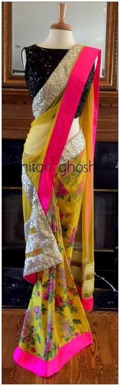 Printed georgette and net saree
