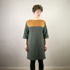 Ich bin ein Upcyclingprodukt. Olivegrün, Senfgelb. Leinen. Sweat. Upcycling Fashion, Upcycle, Cold Shoulder Dress, Fashion Design, Dresses, Fashion Styles, Linen Fabric, Vestidos, Upcycling