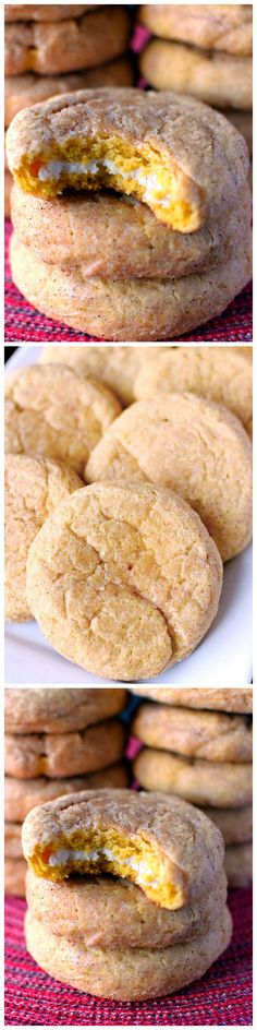 Pumpkin Cheesecake Snickerdoodles - Deliciously soft and puffy pumpkin snickerdoodles with a sweet cream cheese center. #pumpkin