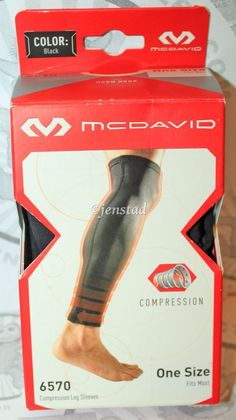 "MCDAVID REFLECTIVE COMPRESSION 6570 CALF 14-15"" SLEEVE PAIR BLACK ADULT MEDUIM  #McDavid"