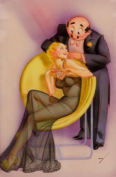 La bella y la bestia | George Petty | Pin-Up artist | #Esquire #Vintage #Girls #Covers #Retro #USA #40s #50s #60s http://defharo.com