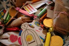 wholesome ideas to fill pinata:  chocolate and yogurt covered fruit, chocolate coins, homemade candy, stickers, dollar store vials of glitter