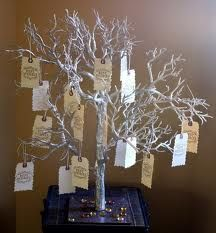 I want a wishing tree in place of a guest book. guests can write their notes on the cards and then hang them up...unique and would make a great decor piece at home, too!