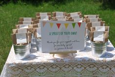 Make these easy plant seed baby shower favors using seed packets, flower pots, and soil. They are so sweet, your guests will love them!