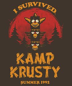 Kamp Survivor from Qwertee Simpson Wallpaper Iphone, Iphone Wallpaper, Day Of The Shirt, Cartoon Network, Simpsons Art, Funny Tee Shirts, Futurama, Game Design, Cartoon Art