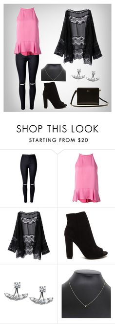 """""""Black and Pink"""" by glennyfranzen on Polyvore featuring WithChic, Diane Von Furstenberg, Arabella, Tiffany & Co. and Lacoste"""