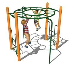Horizontal Ladder Circle. $2,884  A New Twist on Monkey Bars    The Circular Horizontal Ladder provides children with an exciting, fun way to develop strength and social skills. It actively engages kids in safe risk-taking and confidence, while simultaneously building coordination, balance, dexterity, and   physical strength.    Use Zone: 21'x22'  Age Group: 5-12 yrs  Weight: 528 lbs. Outdoor Forts, Outdoor Playground, Commercial Playground Equipment, Play Equipment, Playground Design, Playground Ideas, Antique Phone, Jungle Gym, Backyard For Kids