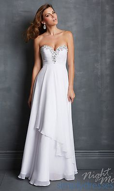 Night Moves 7044 Floor Length Strapless Prom Dress  at SimplyDresses.com