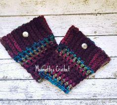 Crochet Boot Cuffs Cranberry Aran Boot Socks by MoomettesCrochet