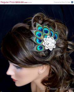 BLACK FRIDAY SALE Peacock Hair Clip. Peacock Feathers bride-bridesmaids fascinator Hair Clip. Stunning , Bridal, Wedding, Bridesmaids.  - P. $59.49, via Etsy.